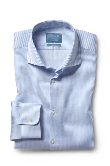 Moss London Canclini Slim Fit Sky Stripe Organic Cotton Single Cuff Shirt
