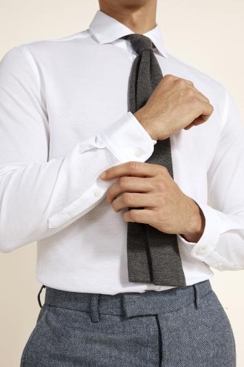 Moss London Canclini Slim Fit White Knit Single Cuff Shirt