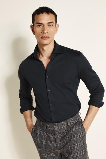 Moss London Canclini Slim Fit Navy Knit Single Cuff Shirt
