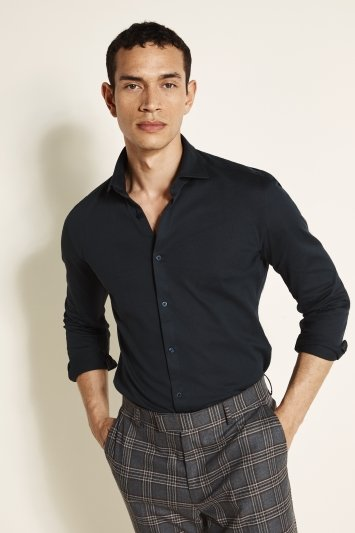 Moss London Canclini Slim Fit Navy Knit Single Cuff Shirt