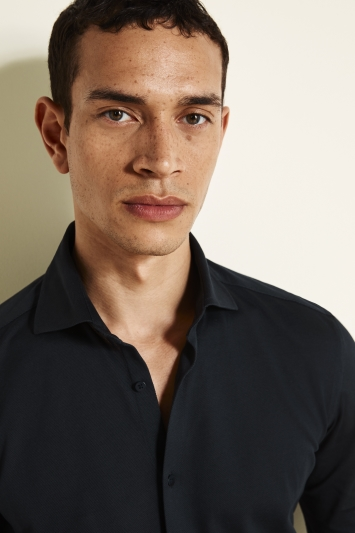 Slim Fit Navy Canclini Knit Shirt