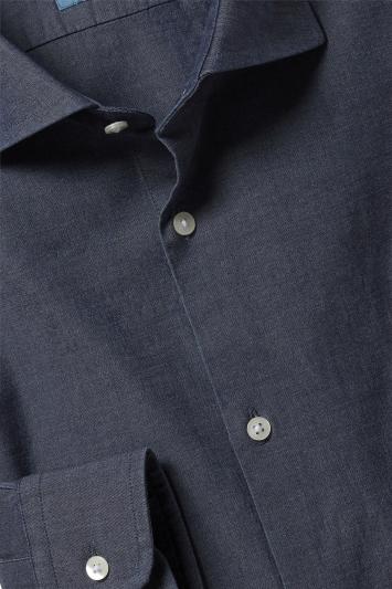 Moss London Canclini Slim Fit Denim Single Cuff Shirt