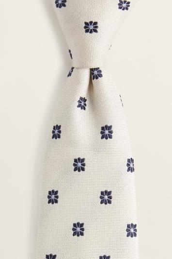 White with Navy Floral Geo Silk Tie