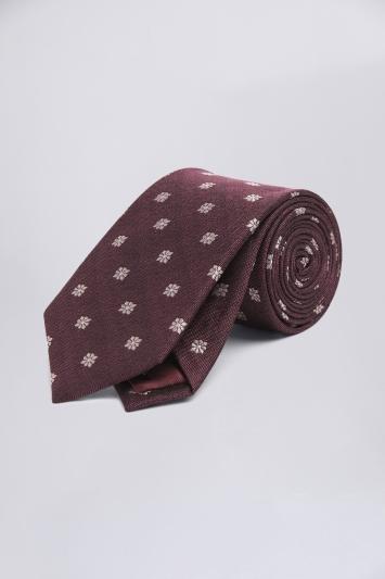 Burgundy with Pink Floral Geo Silk Tie