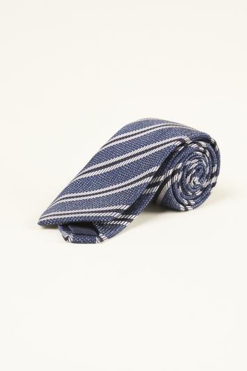 Moss 1851 Navy with White Stripe Semi-Textured Silk Tie