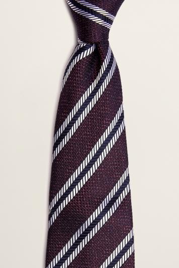 Moss 1851 Burgundy with White Stripe Semi-Textured Silk Tie