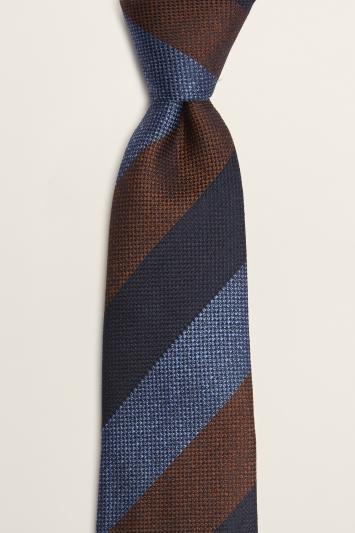 Moss 1851 Navy, Blue & Rust Block-Stripe Silk & Wool Tie