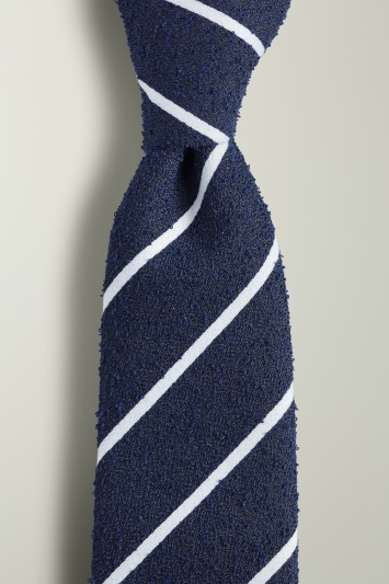Moss London Navy with White Stripe Boucle Tie