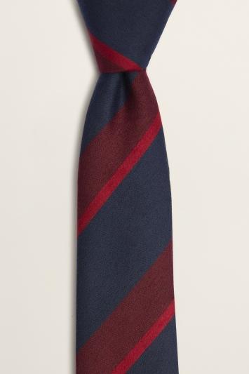 Moss London Navy with Berry Block-Stripe Tie