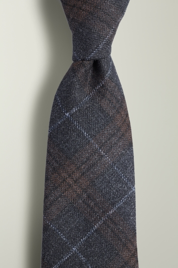 Navy with Brown Check Tie