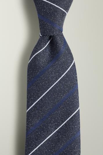 Navy, Blue & White Stripe Textured Tie