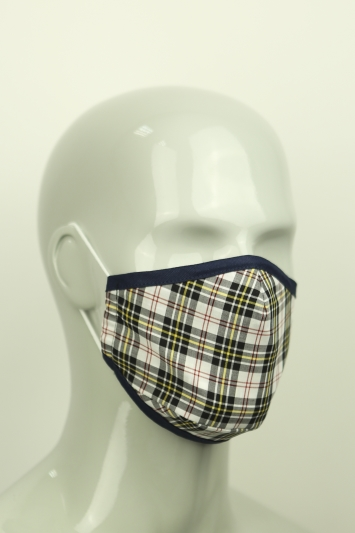 Moss White Tartan Mask