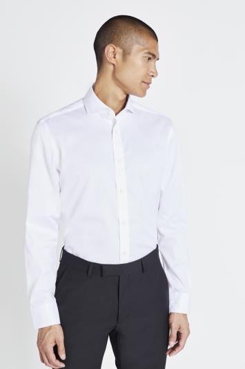 Moss 1851 Tailored Fit White Twill Zero Iron Shirt