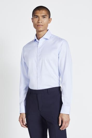 Moss 1851 Tailored Fit Sky Twill Zero Iron Shirt