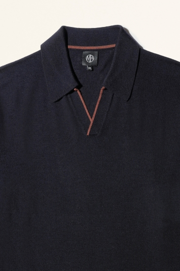 Moss Bros Navy with Rust Trim Merino-Blend Knitted Polo