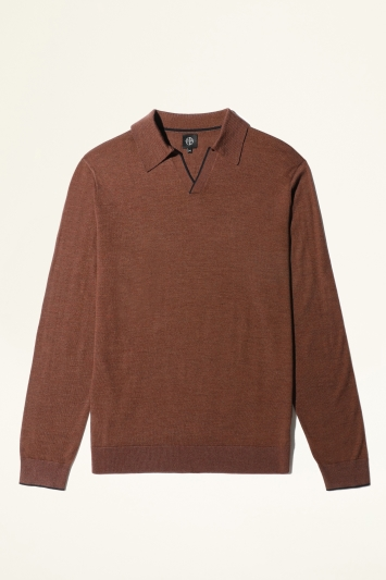 Moss Bros Rust with Navy Trim Merino-Blend Knitted Polo