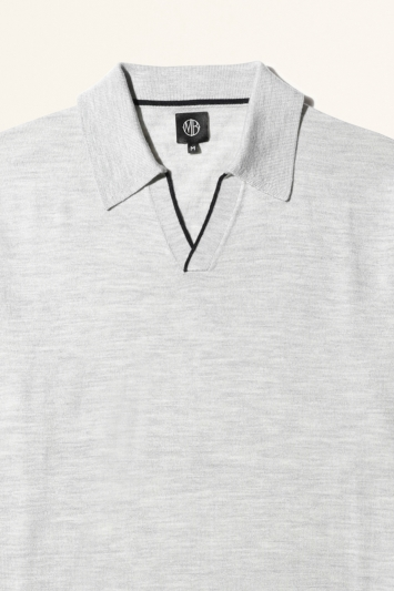 Moss Bros Grey with Navy Trim Merino-Blend Knitted Polo