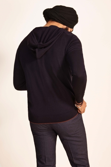 Moss Bros Navy with Rust Trim Merino-Blend Knitted Zip-Up Hoodie