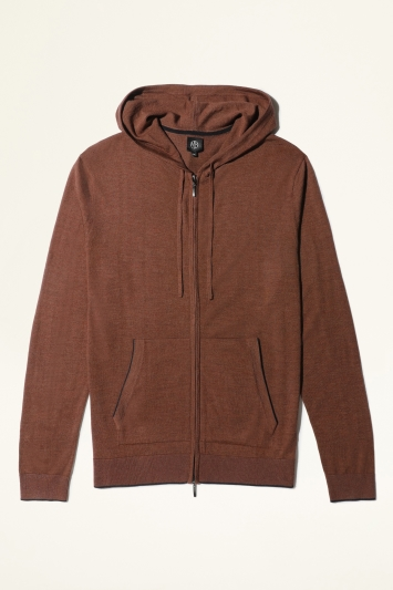 Moss Bros Rust with Navy Trim Merino-Blend Knitted Zip-Up Hoodie