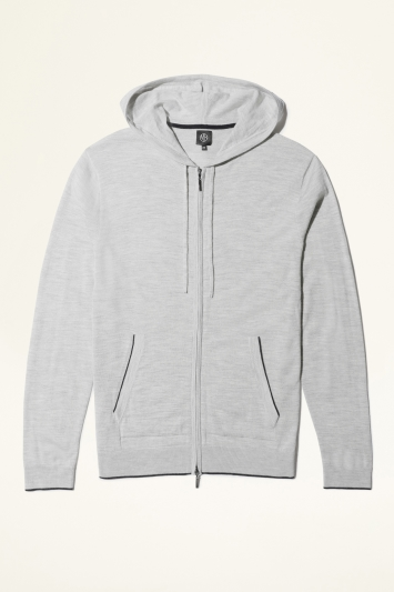 Moss Bros Grey with Navy Trim Merino-Blend Knitted Zip-Up Hoodie