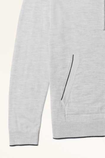 Moss Bros Grey with Navy Trim Merino-Blend Knitted Zip-Up Hoodie