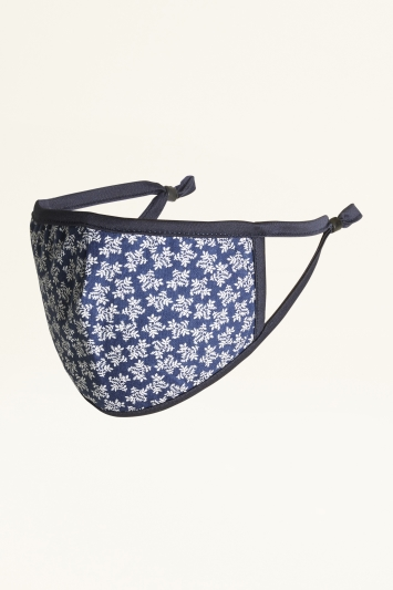 Navy Small Leaf Print Cotton Mask