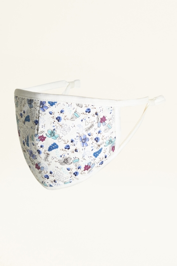 White with Blue Floral Print Cotton Mask