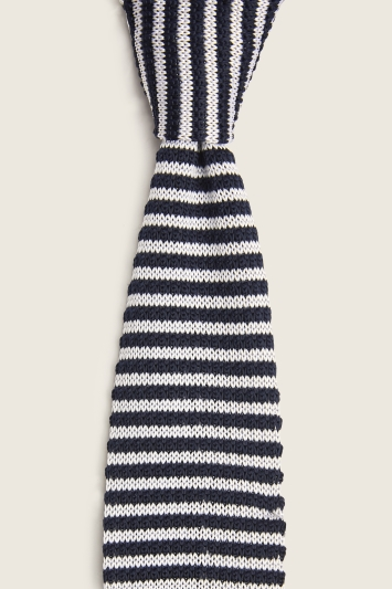 Moss London Navy with White Stripe Knitted Tie