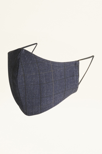 Moss Navy Black Check Mask