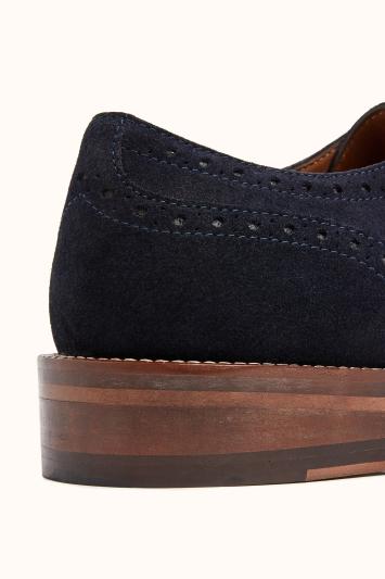 John White Rutland Navy Suede Brogue Shoe