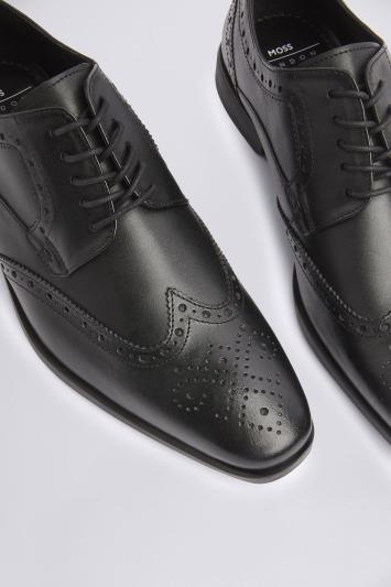 Moss London Deakin Black Brogue Shoe