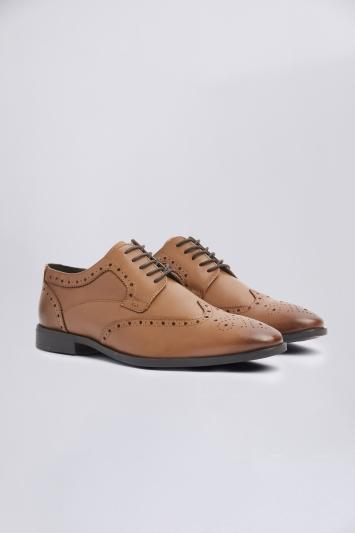 Moss London Deakin Tan Brogue Shoe