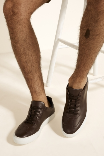 Dalston Brown Leather Smart Trainer