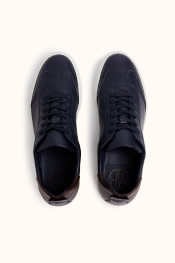 Dalston Navy Leather Smart Trainer