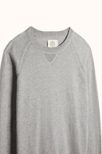 Light Grey Cotton-Cashmere Raglan Knitted Sweatshirt