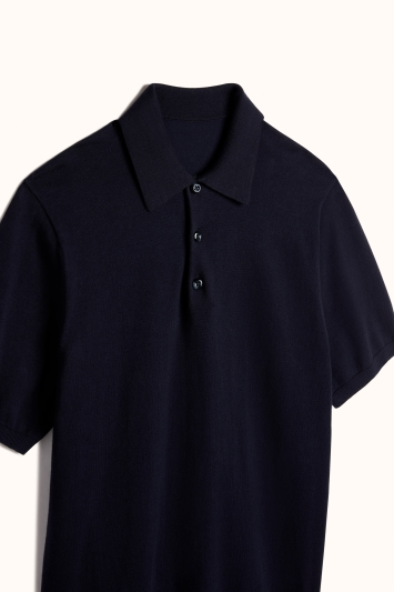 Navy Tencel-Wool Short-Sleeve Knitted Polo Shirt