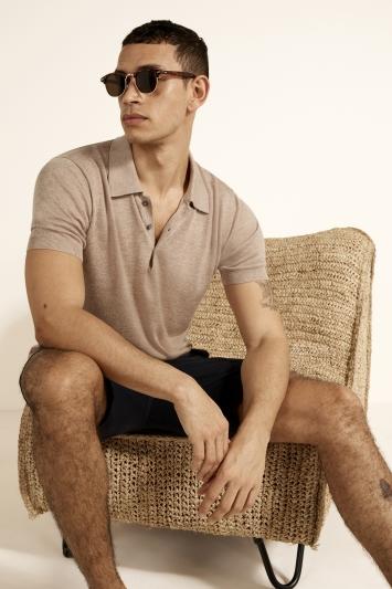 Oatmeal Tencel Knitted Polo Shirt