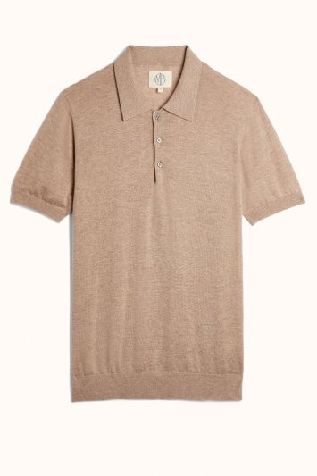Oatmeal Tencel-Wool Short-Sleeve Knitted Polo Shirt