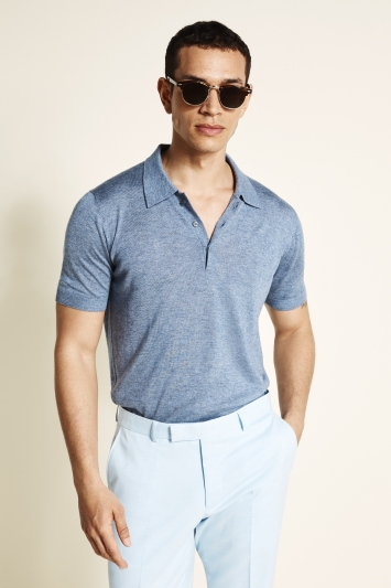 Moss Bros Steel Blue Tencel-Wool Short-Sleeve Knitted Polo Shirt