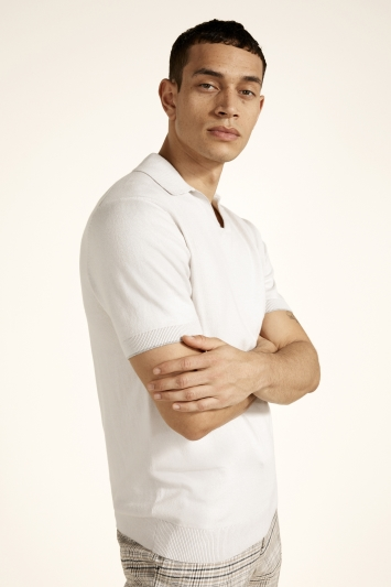 Off White Cotton-Cashmere Polo Shirt