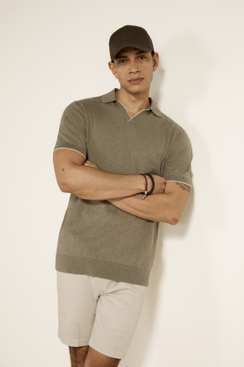 Sage Green with Contrast Tipping Cotton-Cashmere Polo Shirt