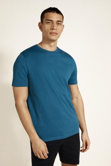 Moss Bros Petrol Blue Crew-Neck T-Shirt