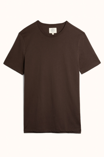 Brown Mercerised Crew-Neck T-Shirt
