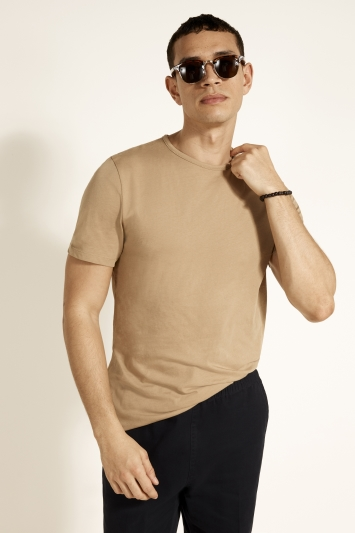 Light Camel Mercerised Crew-Neck T-Shirt