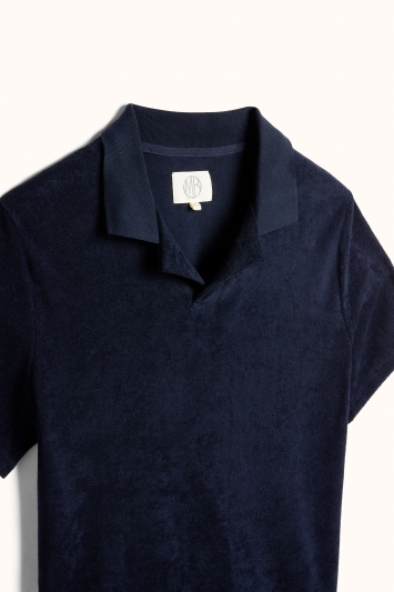 Navy Skipper Collar Terry Towelling Polo Shirt