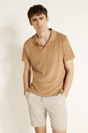 Camel Skipper Collar Terry Towelling Polo Shirt