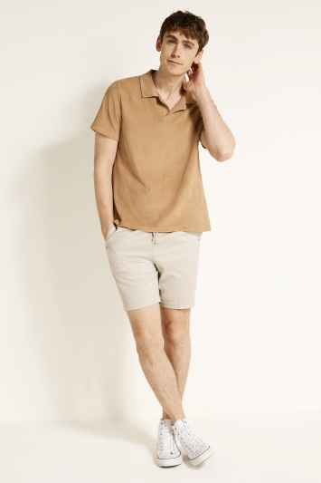 Camel Terry Towelling Polo Shirt