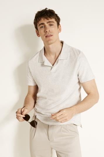 Powder Grey Skipper Collar Terry Towelling Polo Shirt