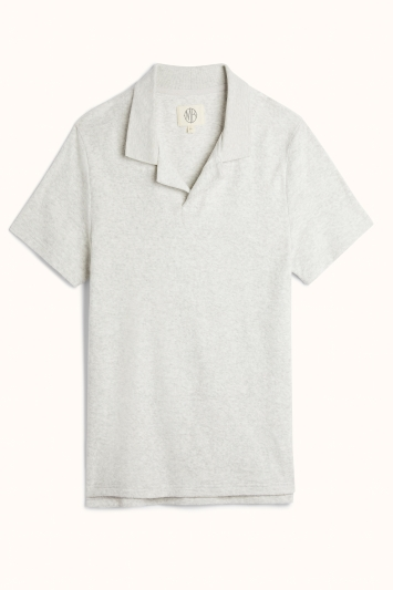 Powder Grey Terry Towelling Polo Shirt