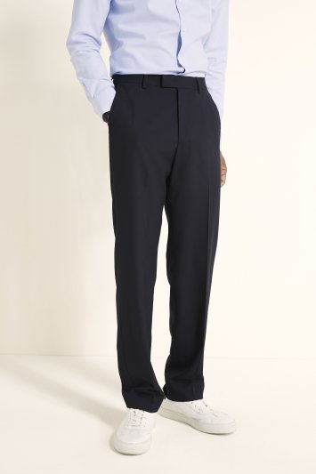 Moss 1851 Regular Fit Machine Washable Navy Plain Trousers with Stretch